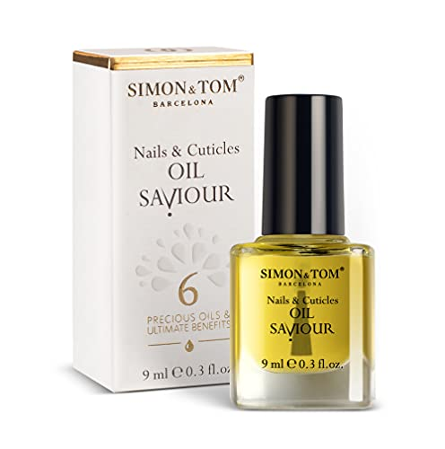 SIMON & TOM - Nail Oil Saviour - Nagel und Nagelhaut Reparaturöl/9 ml - 6 Bio Öle - Regeneriert und fördert das Wachstum - Geeignet für natürliche und Acrylnägel - Vegan - Parabenfrei - Made in Spain