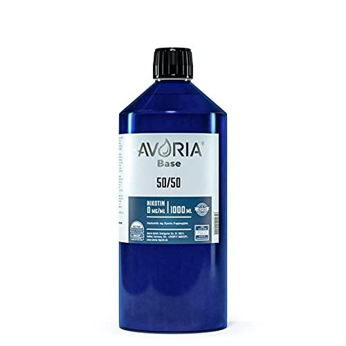 AVORIA – Liquid Base 50/50 zur Herstellung von eigenen Liquids für E-Zigaretten, Vaper und Dampfer | Basis - Made in Germany | Basen ohne Nikotin (1 x 1000 ml)