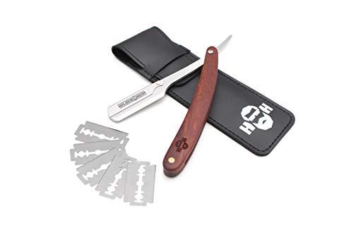 Heldenheim® R2 Klassisches Rasiermesser mit Holzgriff aus Edelstahl | Inkl. 5 Wechselklingen, Etui, Anleitung und eBook | Rasur Set