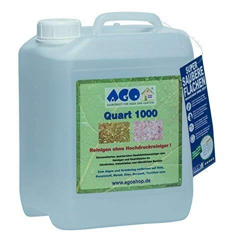AGO® Quart 1000 Grünbelag Entferner Chlor- und Säurefrei I 5L Flechten & Algen Entferner Konzentrat für 1000qm Fläche