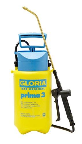 GLORIA Drucksprüher prima 3 | Gartenspritze | 3 L Füllinhalt | Verstellbare Messingdüse | Kompakt für kleinere Gärten