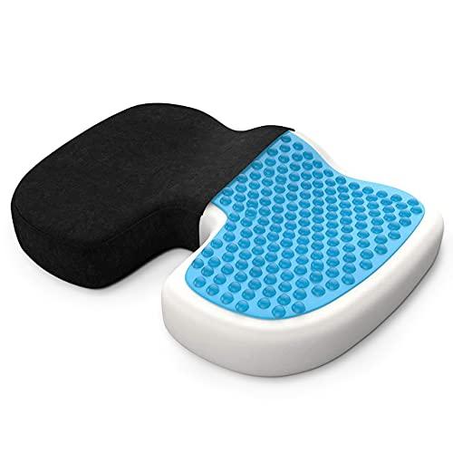 bonmedico Sitzkissen orthopädisch aus Memory Foam mit Gel - Ergonomisches Steißbeinkissen für Bürostuhl, Rollstuhl & Unterwegs - Schwarz - Mit E-Book