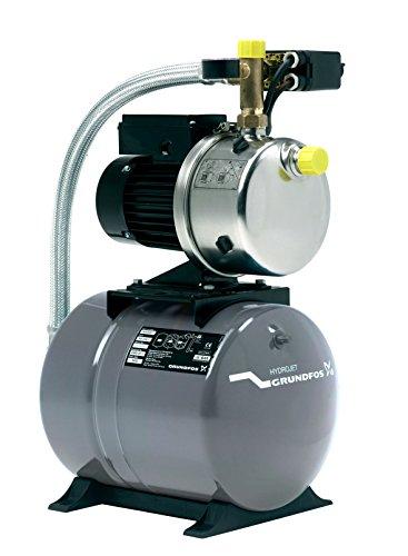 Grundfos 4651BPBB Hauswasserwerk JP5, Druckbehälter Volumen 24L, Pumpengehäuse: Nichtrostender Stahl (Maximaler Betriebsdruck: 6 bar, Nennspannung: 1 x 220V - 240V, Laufrad: Edelstahl)
